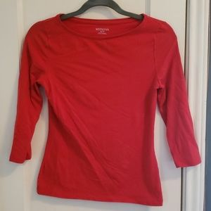 NWOT Boat neck 3/4 sleeve red top